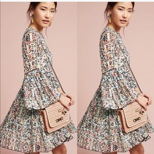 Anthropologie Bell Sleeve Floral Dress Size 8